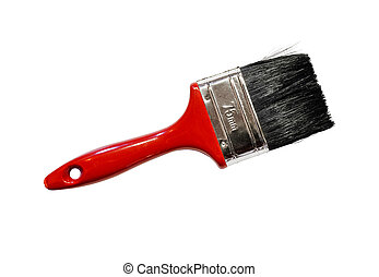 Single red paintbrush - Single red actual real paintbrush...