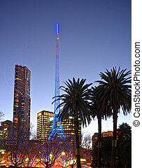 melbourne at night in the arts district - nice colourful...