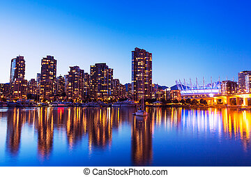 City Skyline at Sunset - Modern Urban City Skyline...