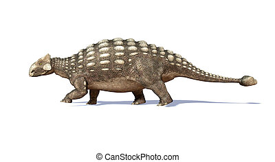 Photorealistic 3 D rendering of an Ankylosaurus. Side view.