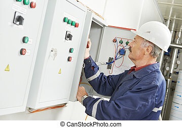 Senior adult electrician engineer worker - senior adult...