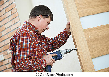 charpentier, porte, serrure, installation