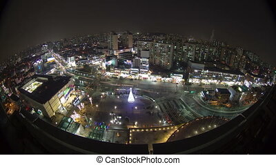 Seoul City 85 - 85) Time lapse of traffic and architecture...