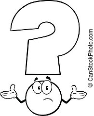 Black and White Question Mark Character With A Confused...
