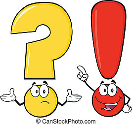 Question Mark And Exclamation Mark Cartoon Characters