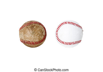 Old and New - A worn baseball next to a new one. isolated on...