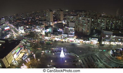 Seoul City Zoom 85 - 85) Zooming time lapse of traffic and...