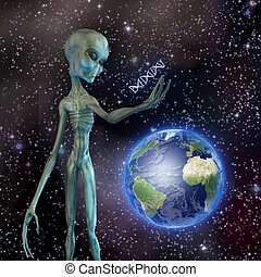 Alien looks at DNA strand