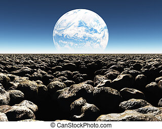 Rocky Landscape with planet or earth with terraformed moon in the distance