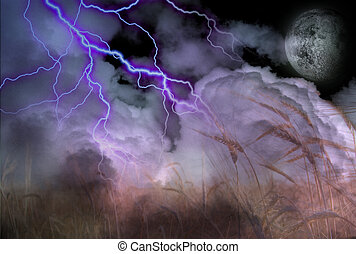 Stormy Lightning Strike and Field of Grain