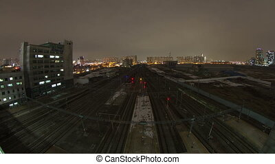 Seoul City 89 - 100 Time lapse of trains and tracks in the...