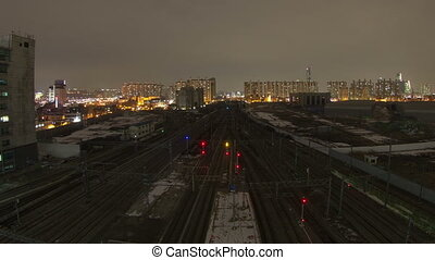 Seoul City Zoom 89 - 89) Zooming time lapse of trains and...