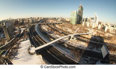 Seoul City 93 - 93) Time lapse of traffic and architecture...
