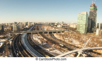 Seoul City Zoom 93 - 93) Zooming time lapse of traffic and...