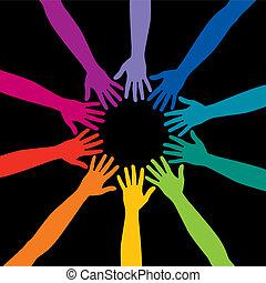 Um, diverso, círculo, mãos