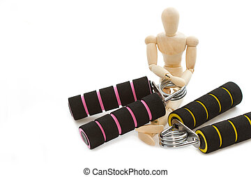 squeezing hand coil exercise equipment with wooden modle...