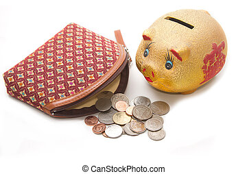 Moneybag  and piggy bank ,Money accumulation concept