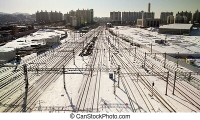 Seoul City 100 - 100) Time lapse of trains and tracks in the...