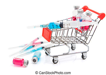 Shopping cart with medicine vials and syringe
