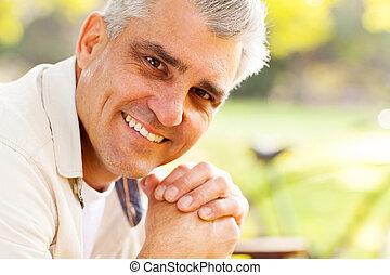 closeup portrait middle aged man - closeup portrait of...