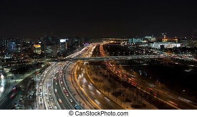 Seoul City 112 - 112) Time lapse of traffic and architecture...