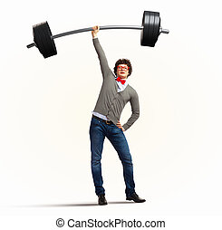 Weight Lifting businessman with a red tie illustration