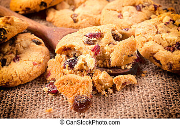 Crumbles on laddle - Homemade cranberry crumbles on the...