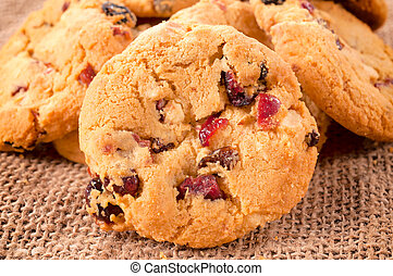Cranberry cookies - Selective focus on the front cranberry...