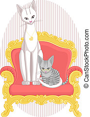 Mother Cat and Daughter Kitten - Illustration of cats,...