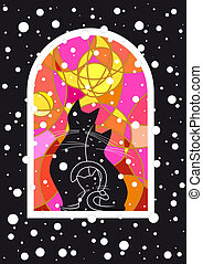 Snowy Evening - Vector image with cats family at snowy night...