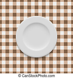 realistic empty plate on the tablecloth