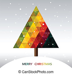 Colorful geometric Christmas tree with place for your text