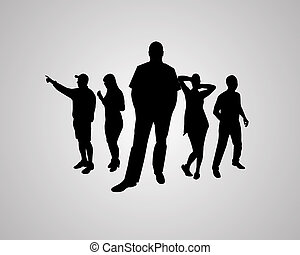 silhouettes - Five silhouettes against the gray background...