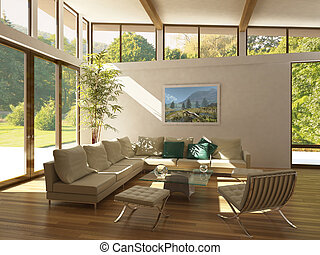 modern livingroom with large windows. - modern livingroom...