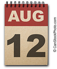 Calendar - 12 August calendar on recycle paper