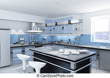 Modern kitchen with isle - Modern kitchen with isle with...