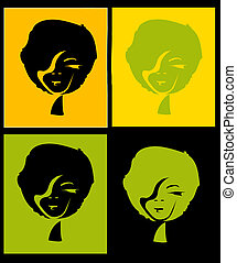 afro girl in four different color