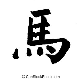 "Horse Calligraphy,Chinese calligraphy. word for ""horse"",..."