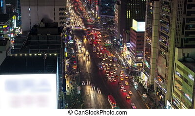 Seoul City - 122) Time lapse of traffic and architecture in...