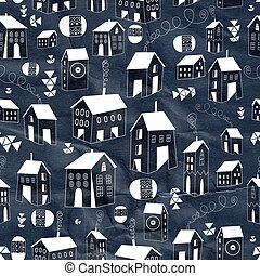 graphic texture houses - seamless pattern with graphic light...
