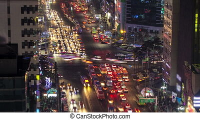 Seoul City Zoom 129 - 129) Zooming time lapse of traffic and...