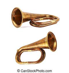 trompeta, musical, Instrumento, aislado