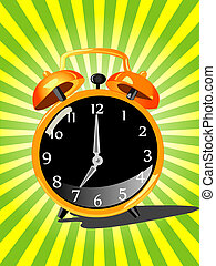 alarm clock on green background