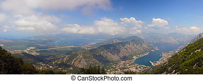 Bay of Boka Kotorska in sunny weather from the mountain top