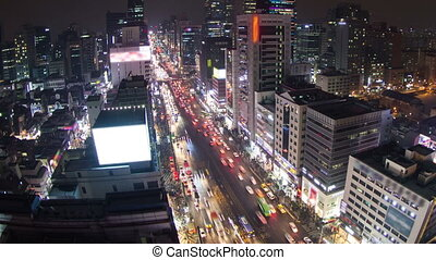 Seoul City 131 - 131) Time lapse of traffic and architecture...