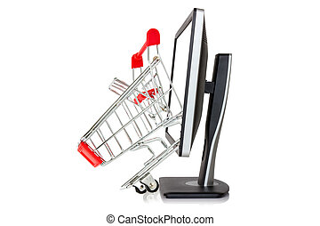 Shopping cart comes out of a monitor Isolated on white...