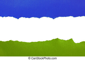 Torn blue and green paper with space for text on white...