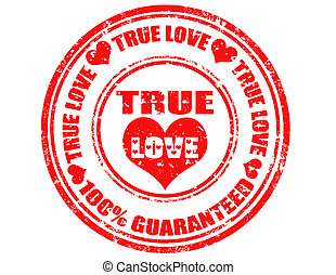 True Love-stamp - Grunge rubber stamp with text True...