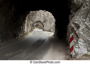 Narrow route and small tunnel - Golubac, Serbia. - Narrow...