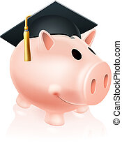 Mortar Board Piggy bank - Piggy bank wearing an academic...